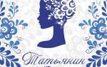 Стильные открытки с днем татьяны. Бесплатные открытки и поздравления на татьянин день. Татьянин день поздравления прикольные
